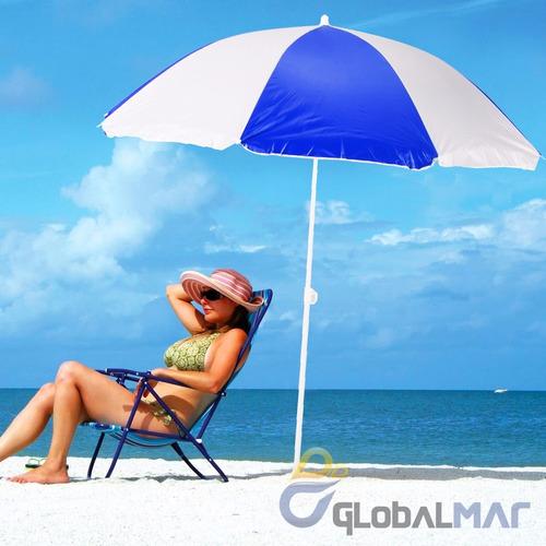 guarda sol praia pesca grande listrado azul proteção solar