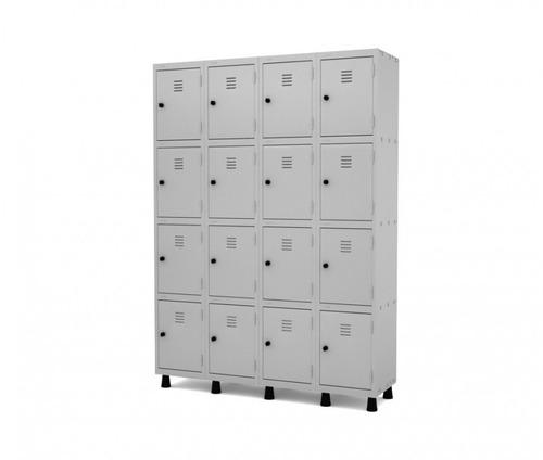 guarda volume em aço com 16 portas cinza com chave lojix