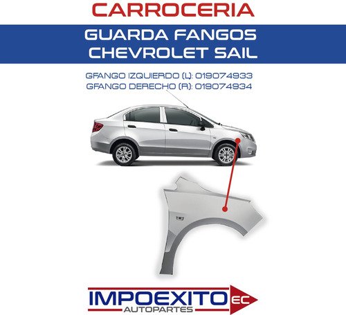 guardafango chevrolet sail