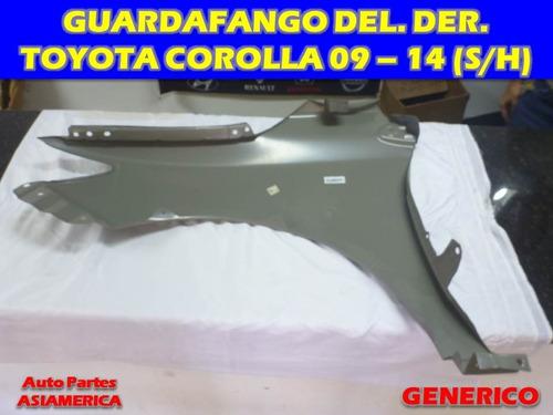 guardafango delantero derecho toyota corolla 09 12 14 s/h