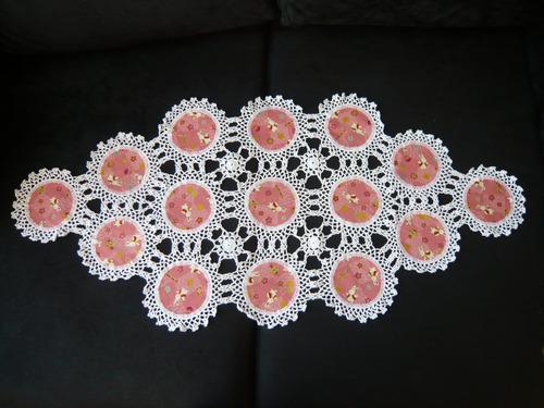 guardanapo/toalha de mesa, crochê com tecido do japão