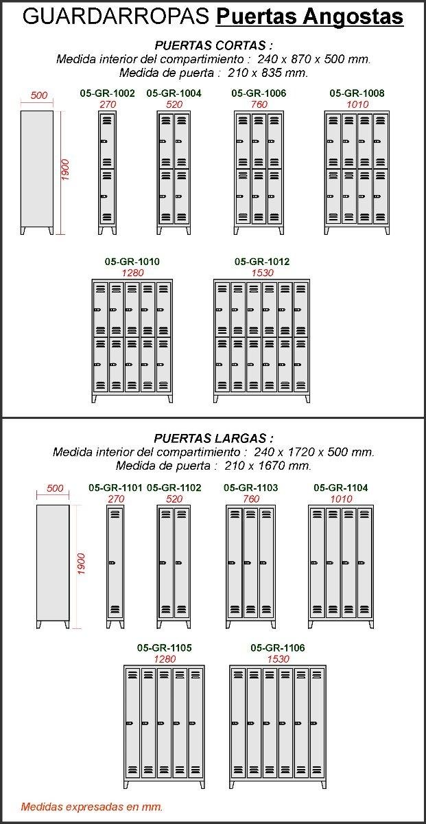 Guardarropa Metalico 6 Puertas Cortas Locker-vestuario Nuevo ...