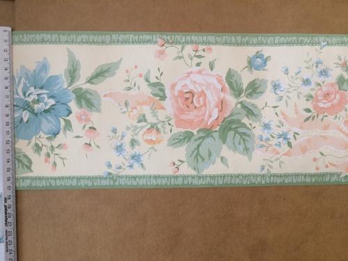 guardas bordes de papel  flores inglesa bouquet moños verde