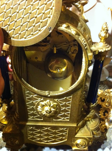 guarnición reloj italiano mesa bronce  porcelana antiguo