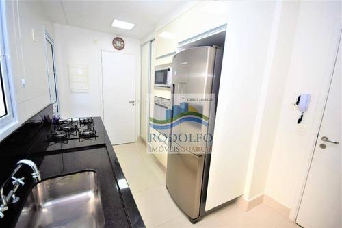 guarujá astúrias 3 dormitórios (suite), varanda gourmet, 2 vagas, lazer completo, baixo custo mensal. - ap0727