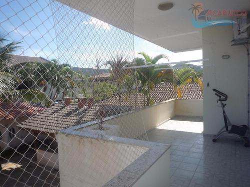 guarujá jardim acapulco - frente praça 4 suítes - 525 metros !!! - ca0022