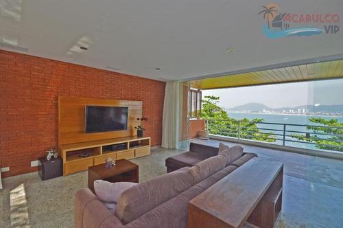 guarujá - península - residência em condomínio fechado - frente total p/ o mar - 5 suítes !!! - ca0205