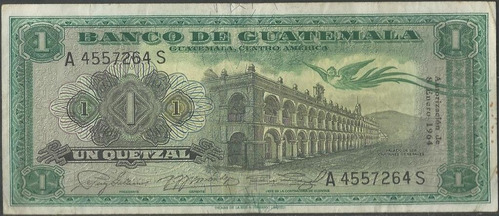 guatemala 1 quetzal 8 ene 1964 p43f
