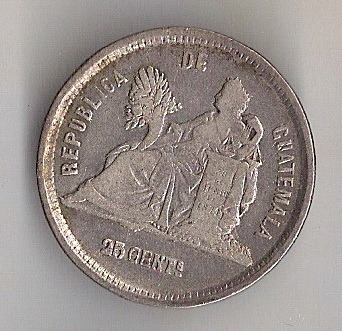 guatemala, 25 centavos de 1889, prata, mbc+