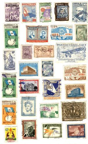 guatemala 28 timbres postales usados años 60/70
