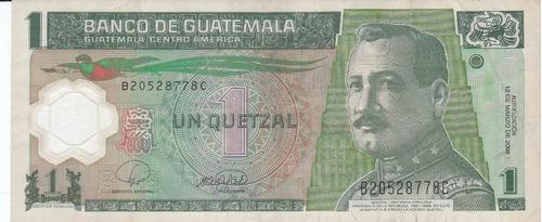 guatemala, antiguo billete de 1 quetzal 2.008