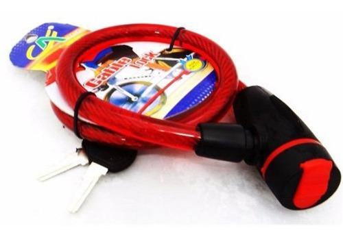 guaya 10mm llave candado cable seguridad moto casc bicicleta