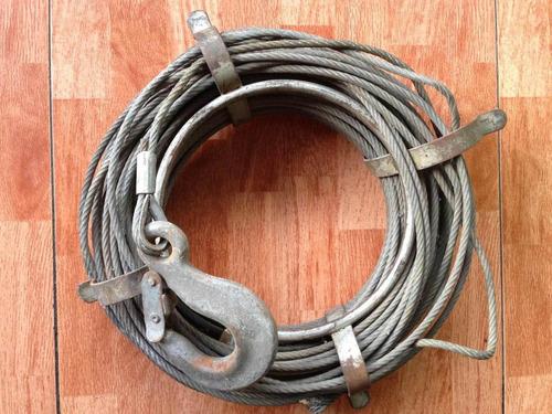 guaya cable de acero con gancho. posee guía para enrollar