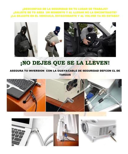 guaya de seguridad en acero targus  para laptop o monitores