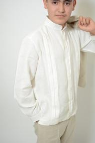 marca popular mitad de descuento moda caliente Guayabera 100% Lino Manga Larga Beige Talla 2,4 Y 6