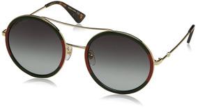 fecha de lanzamiento: c3db6 1fcaf Gucci Gafas De Sol Redondas Para Mujer, Dorado / Verde, O
