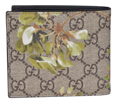 gucci men's gg supreme coated canvas bifold wallet (bloom