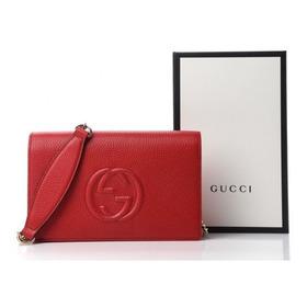 Gucci Serie Soho Cartera Rojo Hibiscus Con Cadena Autentica