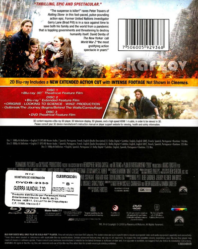 guerra mundial z world war z brad pitt 3d + blu-ray + dvd