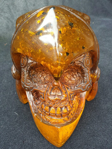 guerrero jaguar azteca ámbar de resina , craneo humano real.