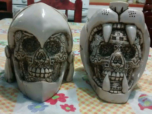 guerrero jaguar de resina , craneo azteca decoracion.
