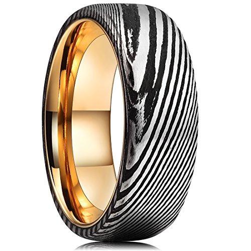 guerreros 8mm hombre damasco oro anillo bodas acero chapad