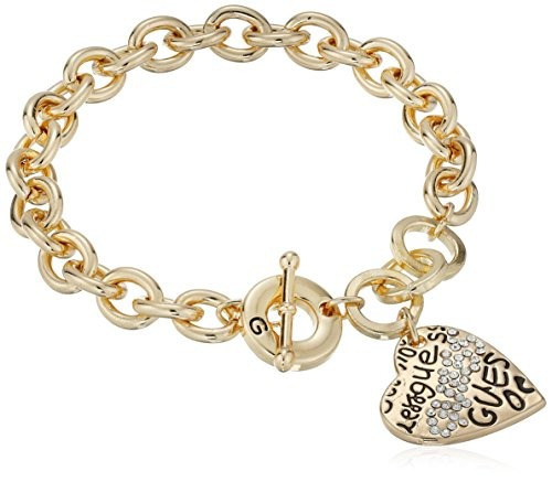 guess basic graffiti logo heart toggle charm bracelet
