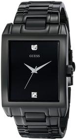 Guess Classic Black Ip Rectangular Diamante Acentuado Reloj.
