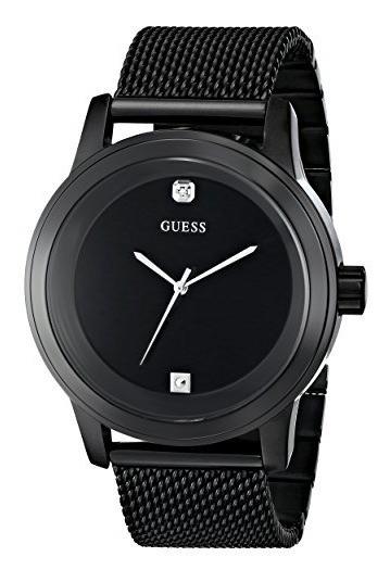 Guess Hombre U0297g1 Diamante Acentuado Black mesh Reloj