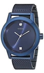 Guess Hombre U0297g2 Reloj De Acero Inoxidable Azul Diamante