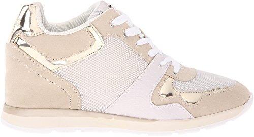 guess laceyy susurro tela blanca zapatillas de las mujeres 9