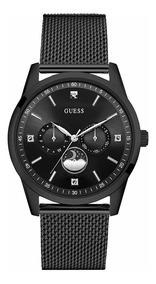 Guess Negro Elegante Reloj De Diamantes