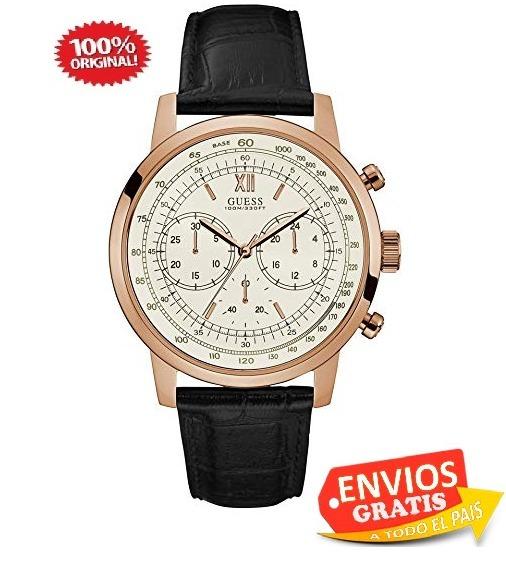 49d4ff55ff20 Guess Reloj Hombre Piel Negro Cronografo Sumergible Regalo L ...