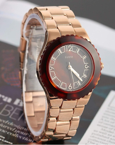 guess w0468l1 rose gold-tone ladies watch - brown dial