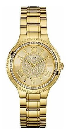 guess women's satinless steel crystal accented watch