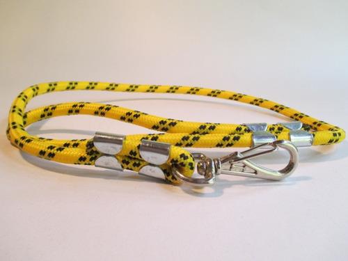 guia cachorro corda roliça passeio amarelo 85cm x 10mm