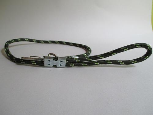 guia cachorro corda roliça passeio verde militar 85cm x 10mm
