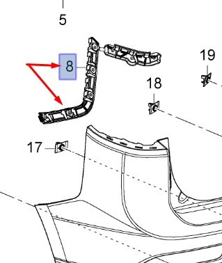 guia do para-choque traseiro lado esquerdo trailblazer