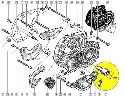 guia do rolamento de embreagem r19 ,original