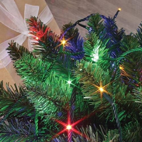 guia guirnalda 40 leds verde pino 2.75cm x 20cm usa pilas