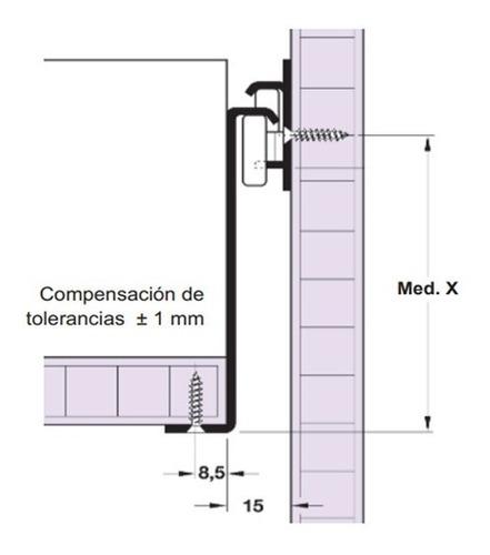 guía lateral para cajón de 118x400 hafele