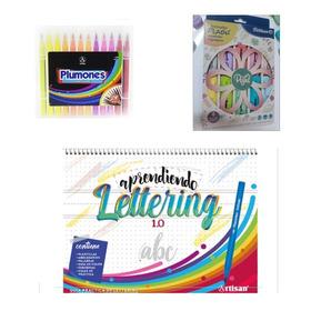 Guía Lettering+punta Pincelx24+resaltadores Pastelpétalos×10