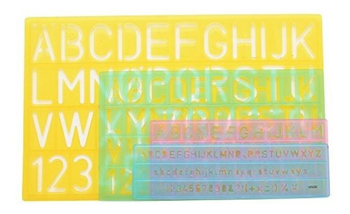 guias de plantilla de letras westcott (4 tamaños)