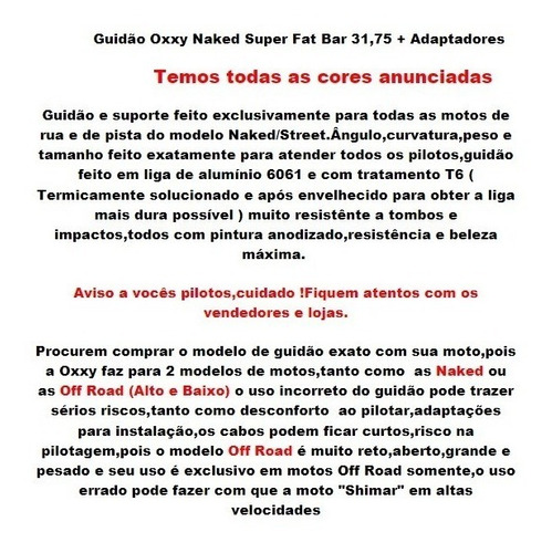 guidao oxxy naked original  super fat bar 31,75 e edaptador