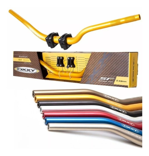 guidão oxxy super fat bar alto e adaptador dourado motocross