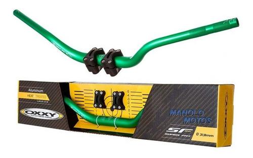 guidão para moto oxxy super fat alto verde + adaptador
