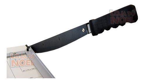 guilhotina facão a4 de aço + larga 20 fls reforço p/ papelão