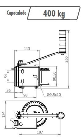 guincho catraca c/ cabo de aço 10 metros p/ 400 kg barco +fr