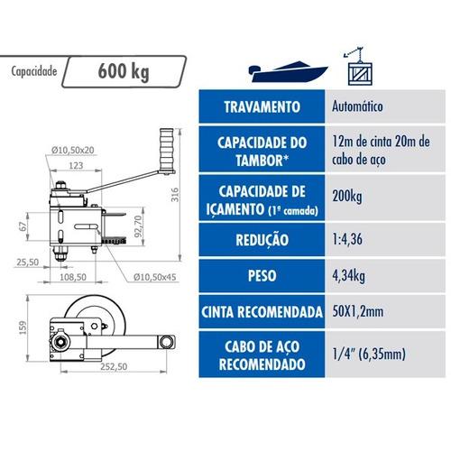 guincho catraca manual freio automatico carretinhas 600 kg
