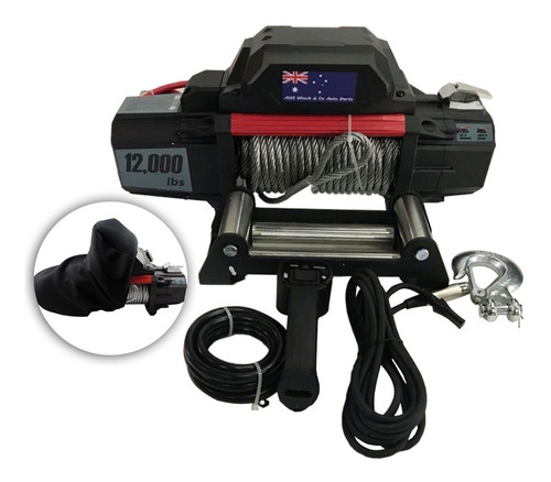 guincho elétrico 12000lbs 12v troller jeep + controle + cap